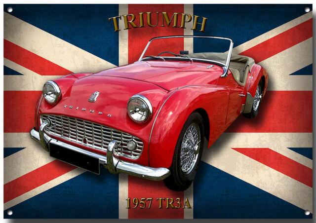 TRIUMPH TR3A METAL SIGN.HIGH GLOSS FINISH.CLASSIC/VINTAGE TRIUMPH CARS.BRITISH.
