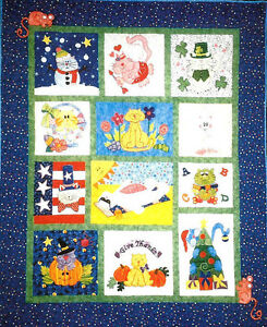 Details About Botm New Complete Block Of The Month Pattern Cat Calendar Quilt