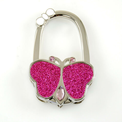 "Stylish Foldable Handbag Holder /""Glitter Butterfly W//Bow/"" Purse Hook"