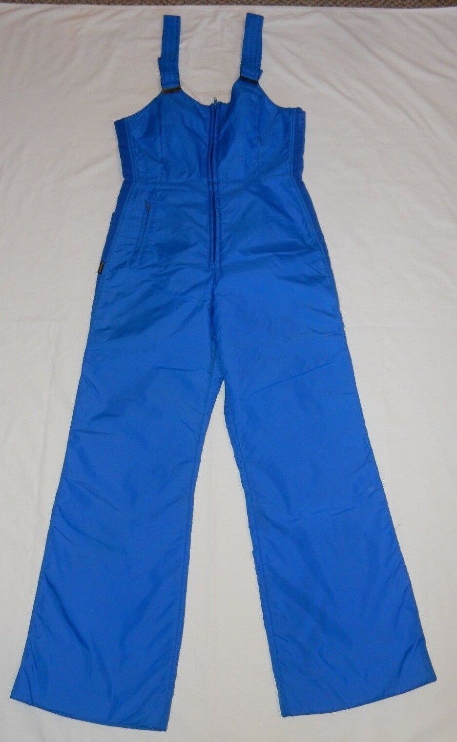 VINTAGE 70's Sportscaster Womens Ski Snow Suit Bibs Retro bluee Large Medium EUC