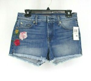 7-For-All-Mankind-7FAMK-Floral-Embroidered-Cut-Off-Shorts-Size-28-Jean-Blue-QQ18