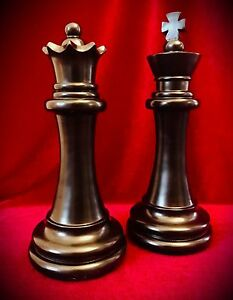Chess Piece Statues Black King Queen Over 11 Tall Home Decor Art