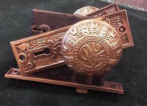 Antique Victorian Door Knob Set Box Backplates Vintage