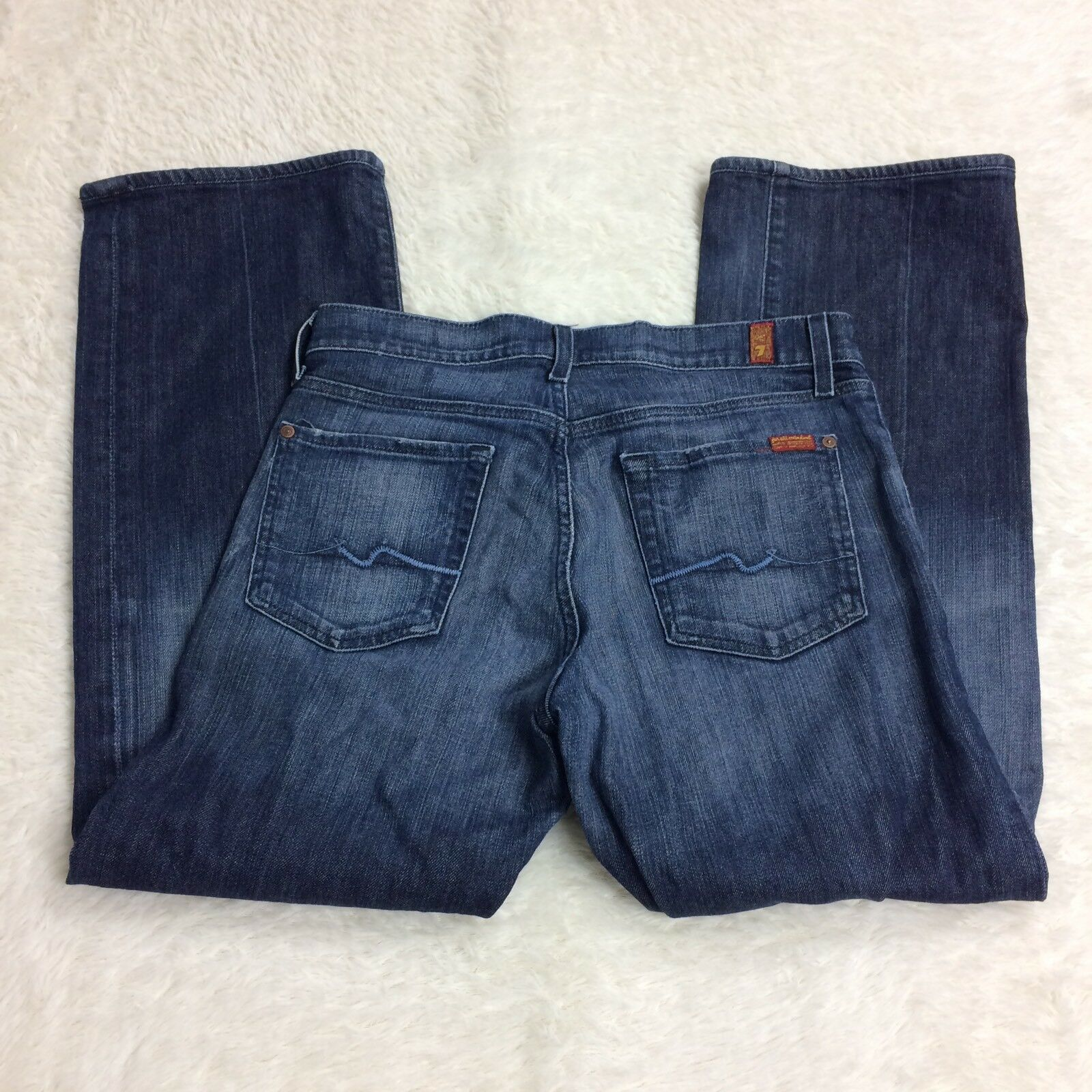 7 For All Mankind Mens Relaxed Bootcut Dark Wash Button Fly Jeans Size 31x29