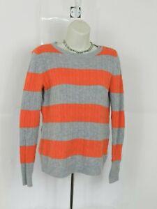 Talbots-Pullover-Sweater-Women-039-s-Size-Petite-Small-Stripe-Gray-Orange-Cable-Knit