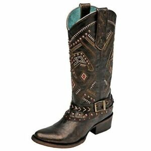 5cbfe6e371b Details about CORRAL Women's Studded Thunderbird and Harness Round Toe  Cowgirl Boots C2932