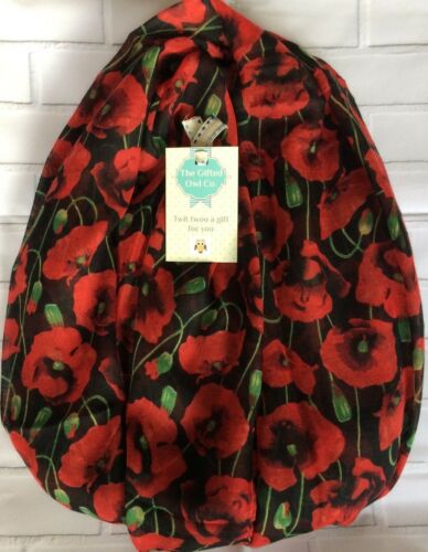 POPPY FIELD BLOOM RED /& BLACK SOFT QUIRKY FLOWER SCARF SHAWL WRAP GIFT POPPIES