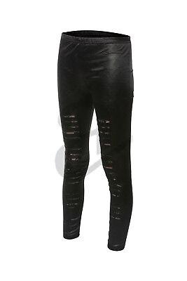 Geschickt Girls Ladies Womens Stretchy Faux Leather Look Ripped Skinny Pencil Leggings Klar Und GroßArtig In Der Art