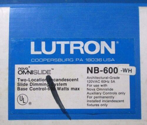 Lutron Nova Omnislide 2 Location Incandescent Slide Dimming System NB-600-WH