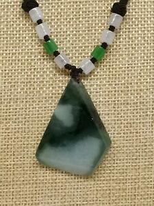 Ice Multi Color Natural Jadeite Jade Peace & Calm Pendant/天然飘花翡翠平安无事原生态牌子
