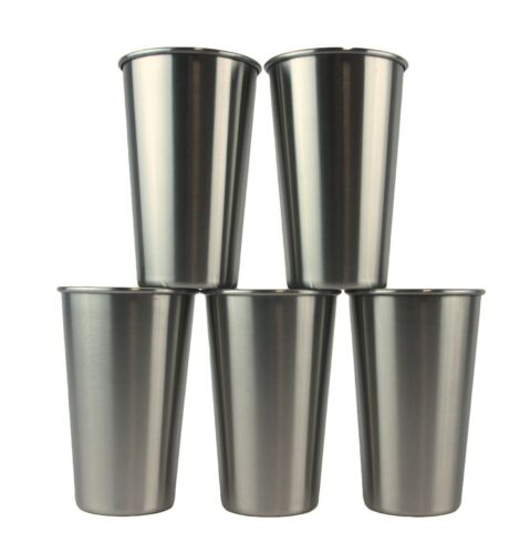 Set of 5 NEW FREE SHIPPING!!! Highest Quality Stainless Steel Pint Glasses