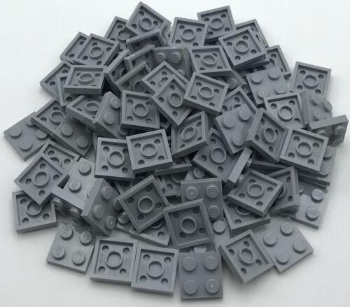 LEGO 100 NEW LIGHT BLUISH GREY 2 X 2 DOT PLATES PIECES