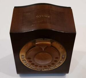 Vintage-Philco-1930s-Mystery-Remote-Control-AM-Console-Wooden-Tenite-Bakelite