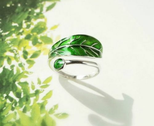 Green Leaf Ring 925 Sterling Silver Branch Leaves Wrap Adjustable Green Stone