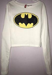 577ea19077d H&M Divided Womens Girls Batman Crop Top White Long Sleeve Size ...