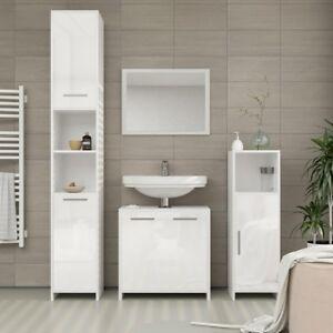 Mobile Bagno Lavandino A Colonna.Set Mobili Bagno Moderno 4 Pezzi Sotto Lavabo Specchio 2 Colonne Armadio Ebay