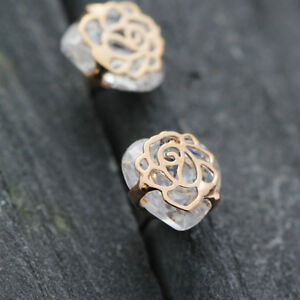 New-18K-Rose-Gold-Filled-8MM-CRYSTAL-Filigree-Flower-Stud-Earrings-Jewelry-Gift