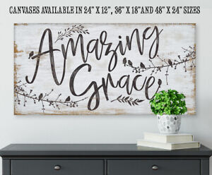 Amazing Grace Large Canvas Wall Art Stretched On A Heavy Wood Frame Gift Ebay