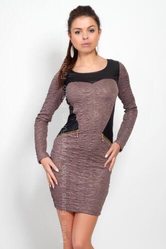 Ladies Mini Dress Scoop Neck Stretch Bodycon Long Sleeve Tunic Sizes 8-12 FC4100