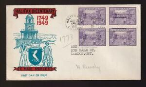 Canada FDC 1949 Founding of Halifax, King cachet, block of 4, sc#283