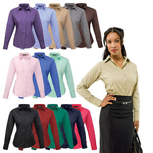 5e5c5c9dbcfdd Image is loading Premier-Ladies-Womens-Long-Sleeve-Poplin-Shirt-Blouse-