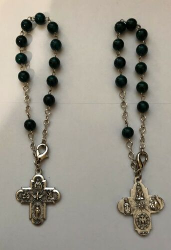 GREEN STONE POCKET ROSARY HAND MADE IN THE HOLY LANDS FOUR WAY HOLY MEDAL