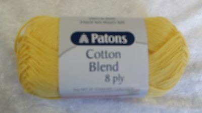 Patons Cotton Blend 8 Ply #6 Yellow Cotton / Acrylic 50g