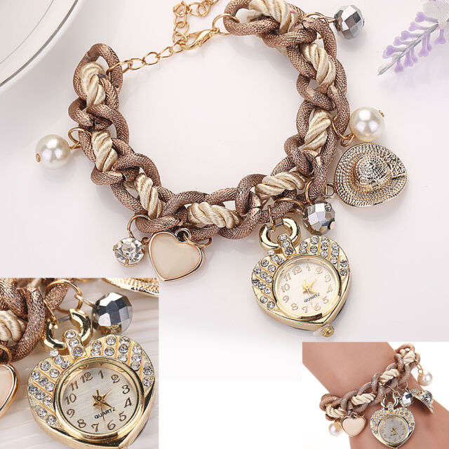 Womens Braided Rope Pearl Bracelet Watch Lady Girl Rhinestone Quartz Wrist Watch