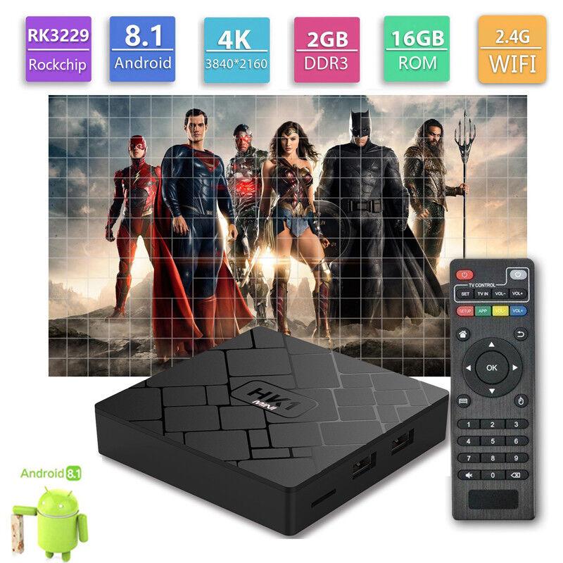 s-l1600 HK1 Mini Android 8.1 TV Box 5RK3229 Quad-Core 2G/16G 4K H.265 2.4GHz USB WiFi HD