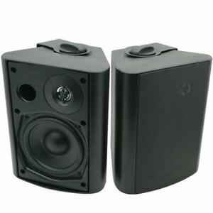 White Herdio 5.25 Inches 200 Watts Indoor Outdoor Patio Deck Speakers All Weather Wall Mount System A Pair