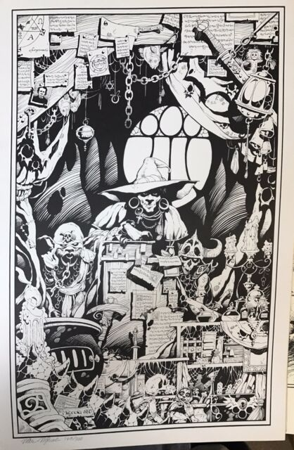 1983 Warlock Magic 15 x 22 Print Signed & numbered by MIKE MIGNOLA! Hellboy!