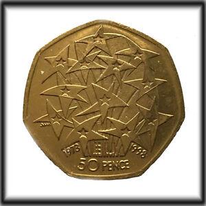 24ct Vergoldet 1998 Europäischer Union 50p 50 Pence Münze Schmuck