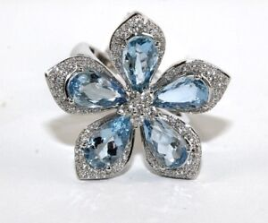 Pear-Shape-Aquamarine-amp-Diamond-Flower-Star-Cluster-Ring-18k-White-Gold-5-36Ct