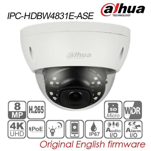 Dahua 4K UHD 8MP IP Dome Camera H.265 POE IR IP67 Audio TF IPC-HDBW4831E-ASE 4mm