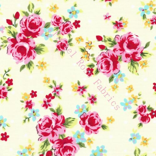 Party Rose Floral Fabric 100/% Cotton Fabric ~ Large Roses /& Mini Party roses