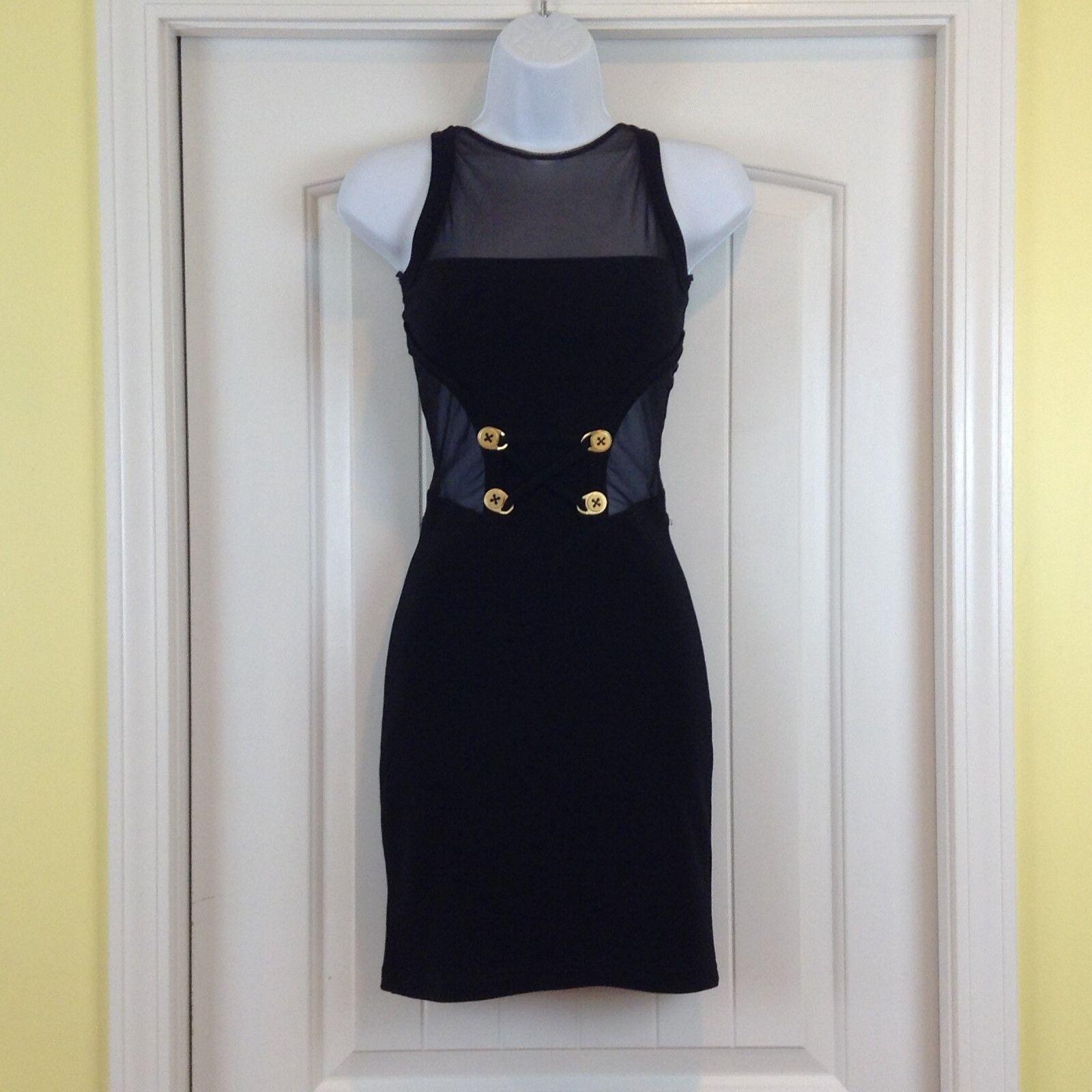 VTG 80's Andrea Isabella Größe Small schwarz Laced Back Mesh Stretch BodyCon Dress