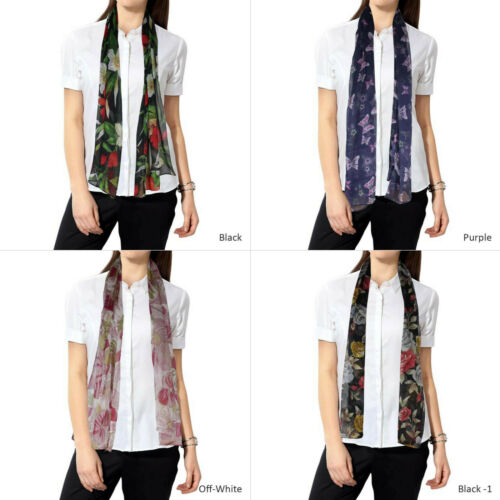 Floral Scarf Semi Chiffon Scarves Cover up Neck Head Scarf Light Weigh For Girls