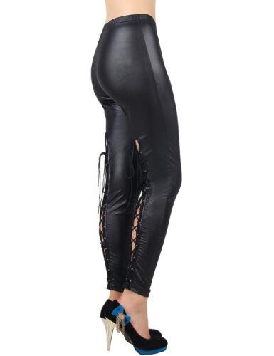 Women/'s ladies wet look leggings à lacets en cuir noir coupe skinny pantalon