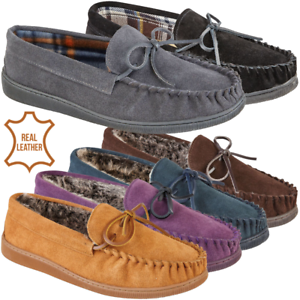 Mens-Slippers-Mens-Moccasin-Real-Suede-Slip-On-Full-Back-Slippers-Size-8-9-10-11