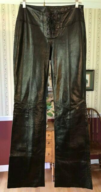 Wilsons Leather Maxima women's black soft buttery pants no hem 6