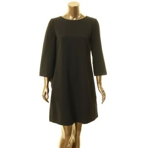 ANNE-KLEIN-NEW-Women-039-s-Cape-Crepe-Split-Sleeve-Shift-Dress-TEDO