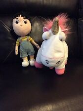 "Authentic 16"" Agnes & 18"" Unicorn  Stuffed Plush Despicable ME Universal"