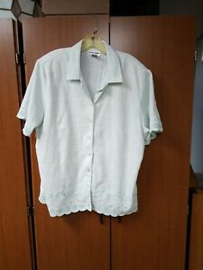 Ladies-Short-Sleeve-Alfred-Dunner-Mint-Green-Checkered-20w-Button-front-Blouse