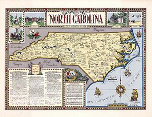 1958 PICTORIAL Map North Carolina cities historical sites events ...