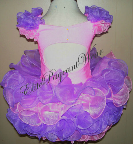 National Pageant Dress Shell  sizes 6mos to 7//8 Girls off shoulder pink//purple