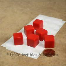 NEW Set of 6 Blank Dice - 16mm Red - D&D RPG Gaming D6
