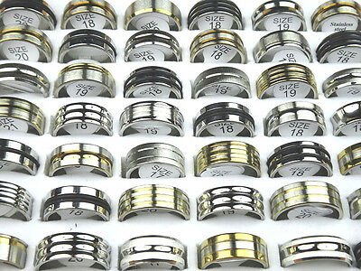 10pcs-30pcs Mix Silver Gold Stainless Steel Fashion Mens Rings Wholesale Lots