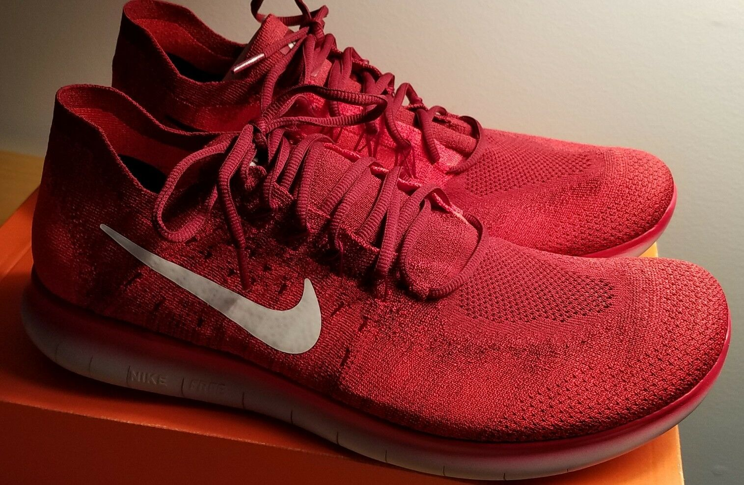 New Nike Free RN Flyknit 2017 red 880843-600 Comfortable