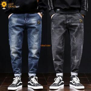 New-Men-039-s-Loose-Denim-Pantalon-Retro-Stretch-Harem-Taper-Fit-Baggy-Jeans-28-42