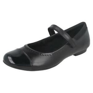 De Clarks G Colegio Negro Niña As Ajuste charol Zapatos Tizz 29a Cuero 0r0RvwSq